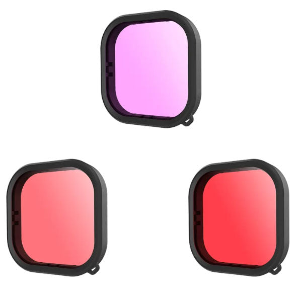 Telesin Pink, Red and Purple Underwater Filter for GoPro Hero 9 Waterproof Case