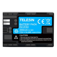 Load image into Gallery viewer, Telesin LP-E6 Rechargeable Battery for Canon DSLR Cameras