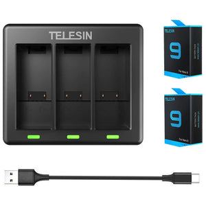 Telesin 3-Slot Battery Charger with 2 Batteries for GoPro Hero 9 Camera