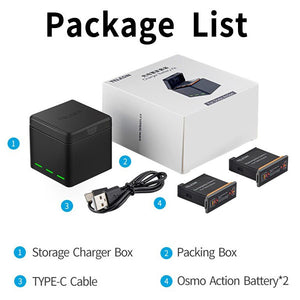 Telesin 3-Slot Charging Box with 2 Batteries for DJI Osmo Action Camera