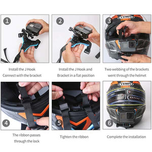 Telesin Helmet Chin Strap Mount with J-Hook for Action Cameras