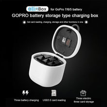 Load image into Gallery viewer, Telesin Allin Box 3-Slot Battery Storage Charger + Card Reader for GoPro Hero 5, Hero 6, Hero 7, Hero 8 Action Cameras