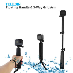 Telesin 3-Way Monopod, Tripod, and Floater for Action Cameras