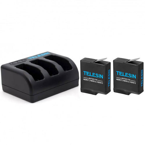 Telesin 3-Slot Charging Kit with 2 Batteries for GoPro Hero 5, Hero 6, Hero 7 Action Cameras