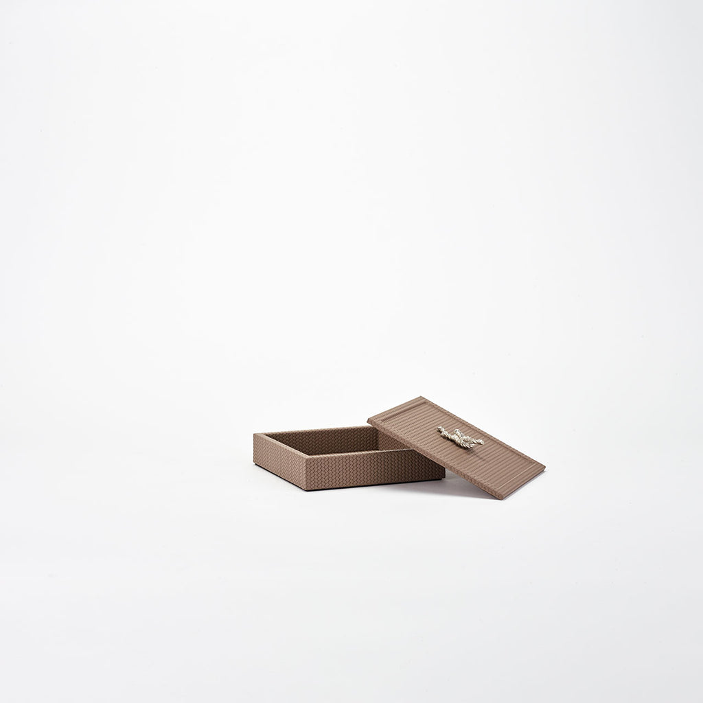 PINETTI SQUARE BOX WITH SILVER KNOT · FIRENZE TAUPE