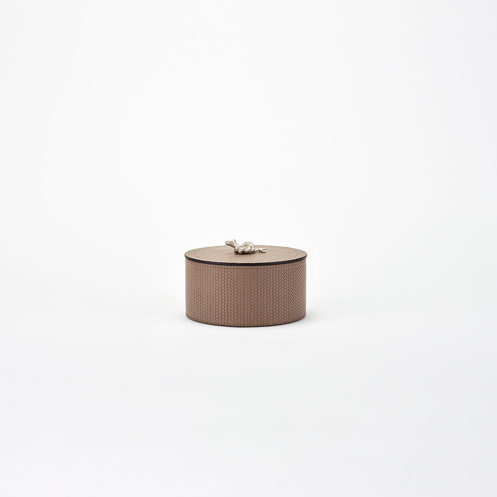 PINETTI ROUND BOX WITH  SILVER KNOT · THALIA  FIRENZE TAUPE