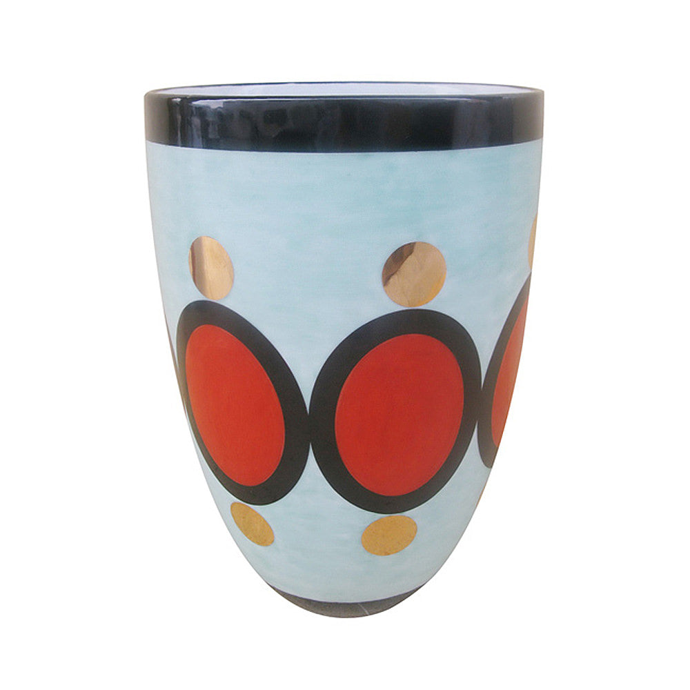 CONIC FLOWER VASE BLACK/ORANGE