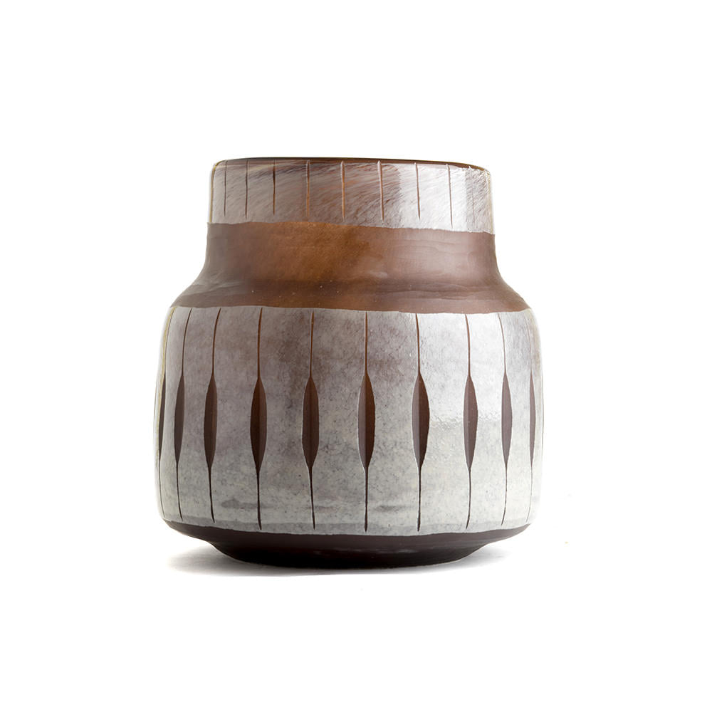 VASE DOUBLE LAYER GLASS CUT BROWN SMALL