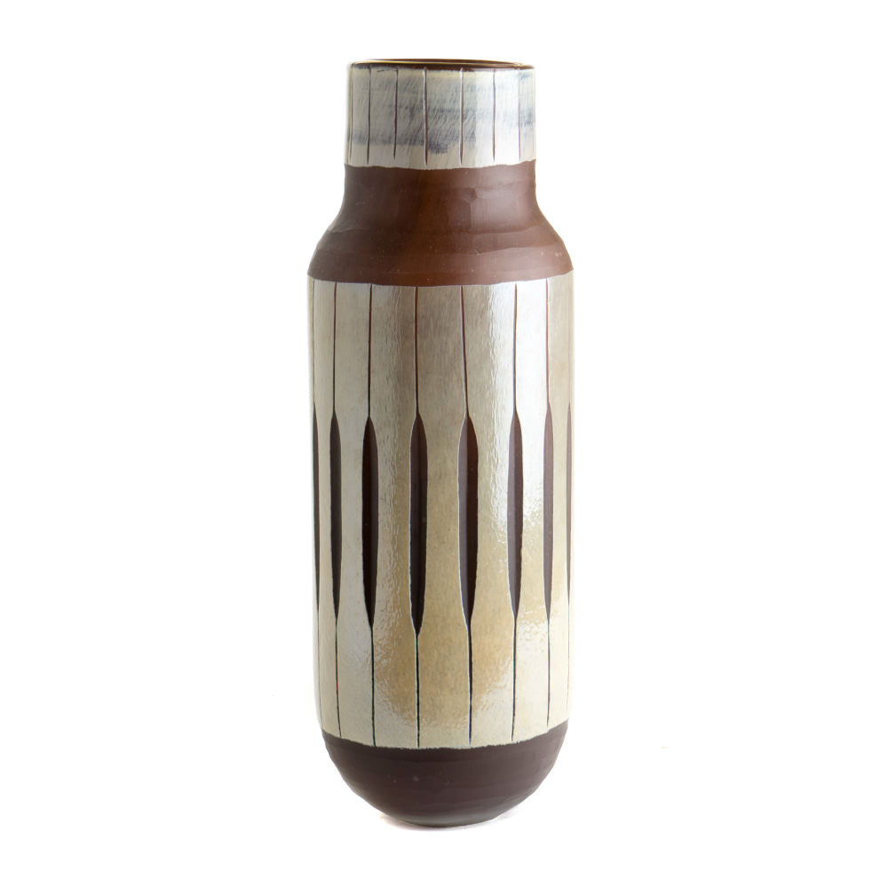 VASE DOUBLE LAYER GLASS CUT BROWN LARGE