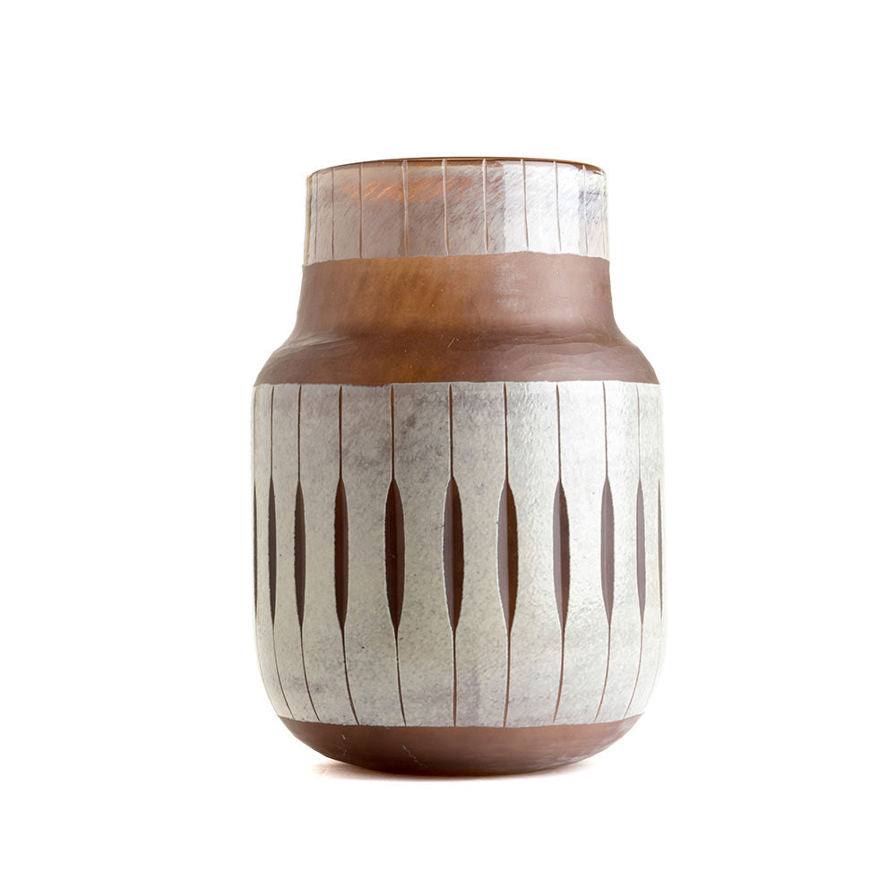 VASE DOUBLE LAYER GLASS CUT BROWN MEDIUM