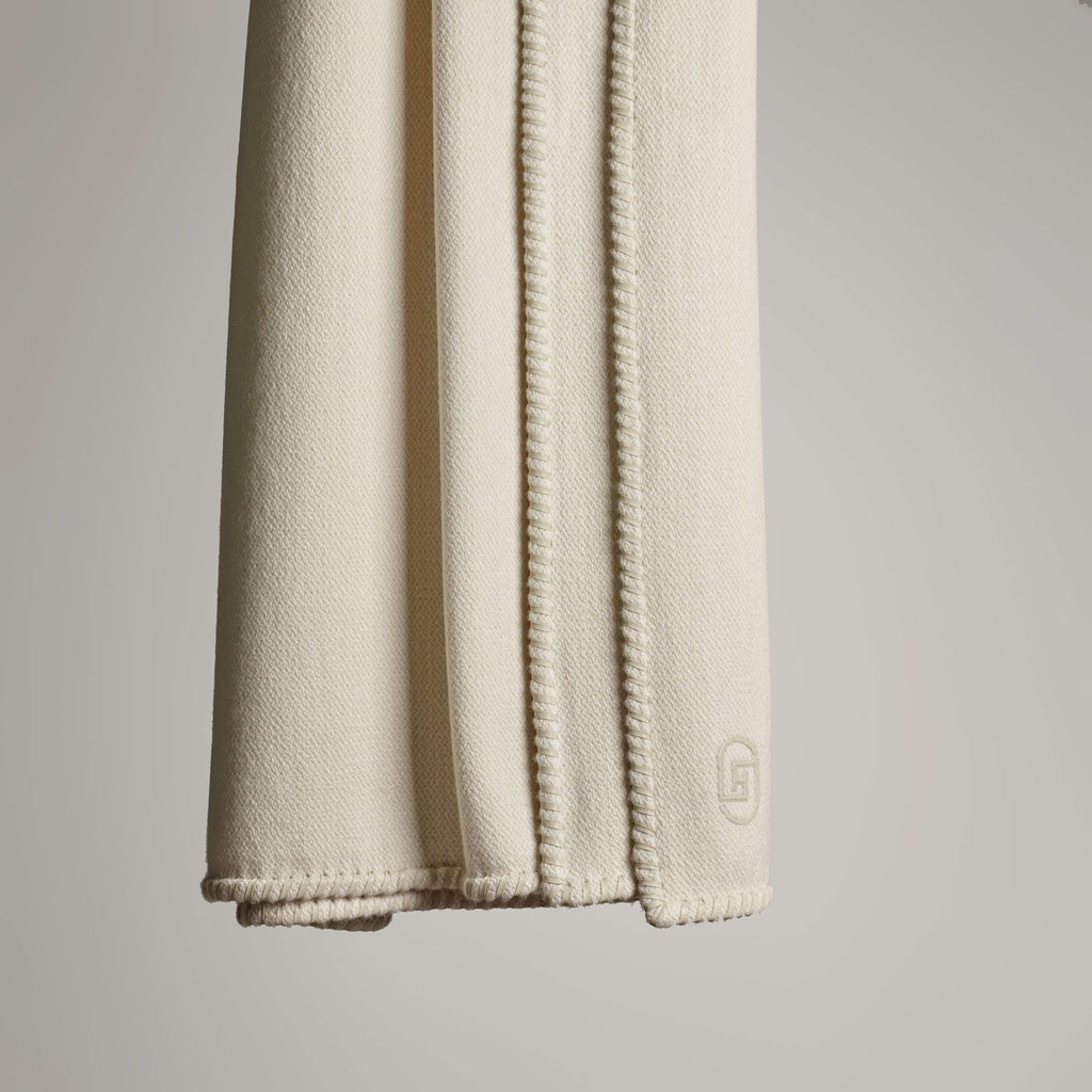 CASHMERE THROW WITH LEATHER DETAIL · IVORY