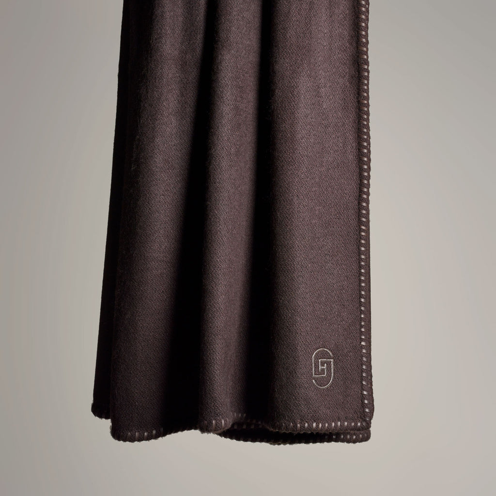 CASHMERE THROW WITH LEATHER DETAIL · CHOCOLATE