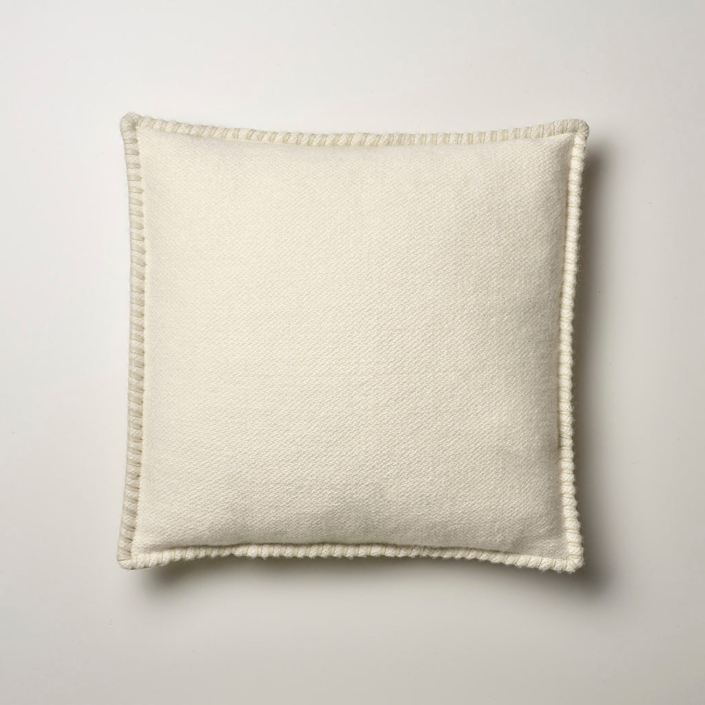CASHMERE PILLOW WITH LEATHER DETAIL · IVORY