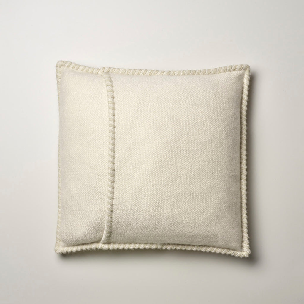 CASHMERE PILLOW WITH LEATHER DETAIL IVORY