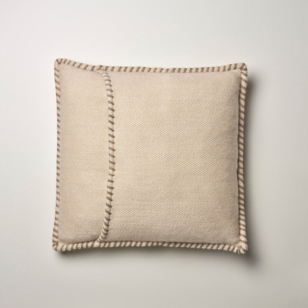 CASHMERE PILLOW WITH LEATHER DETAIL · SAND