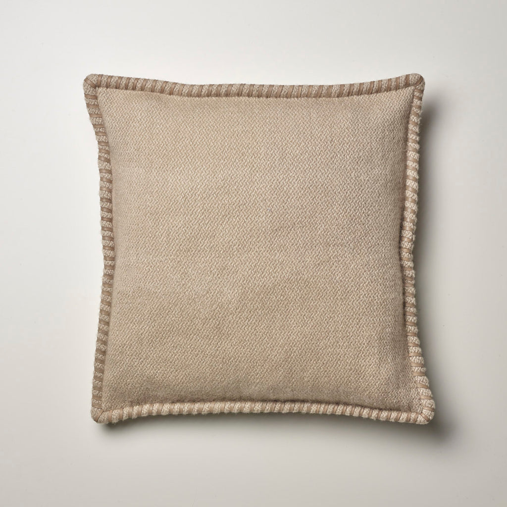CASHMERE PILLOW WITH LEATHER DETAIL · TAUPE