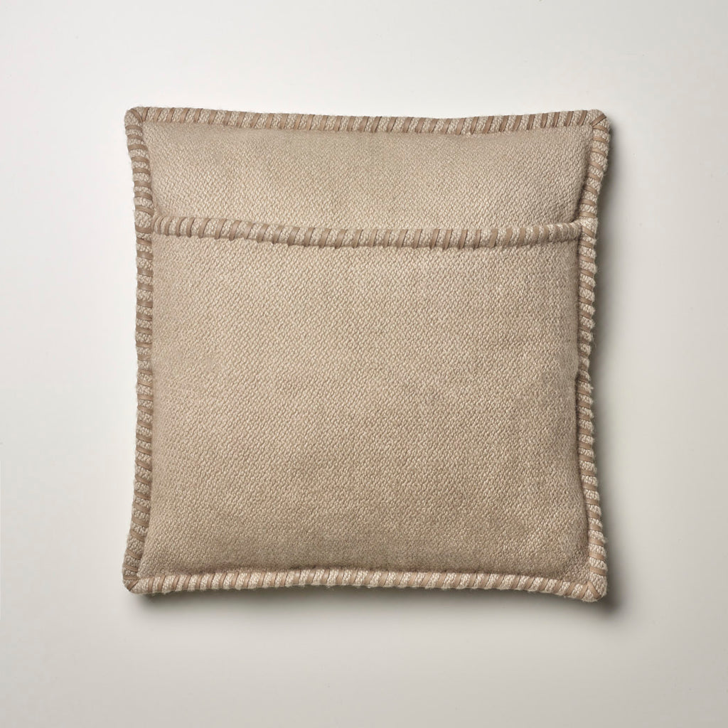 CASHMERE PILLOW WITH LEATHER DETAIL TAUPE
