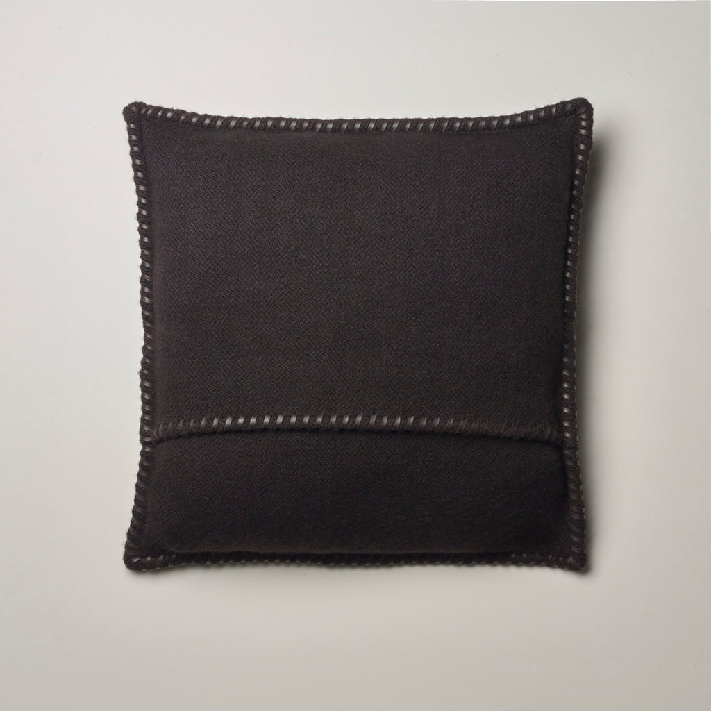 CASHMERE PILLOW WITH LEATHER DETAIL · CHOCOLATE