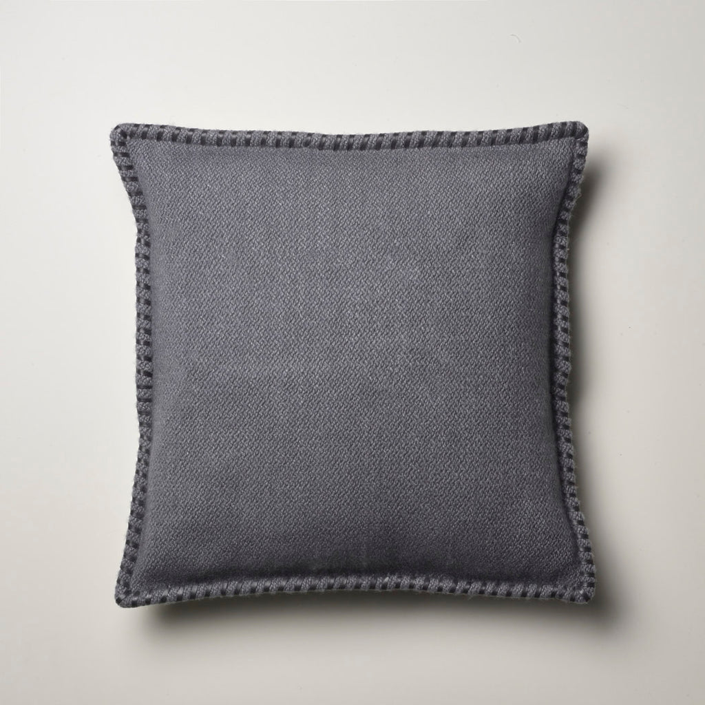 CASHMERE PILLOW WITH LEATHER DETAIL · STONE