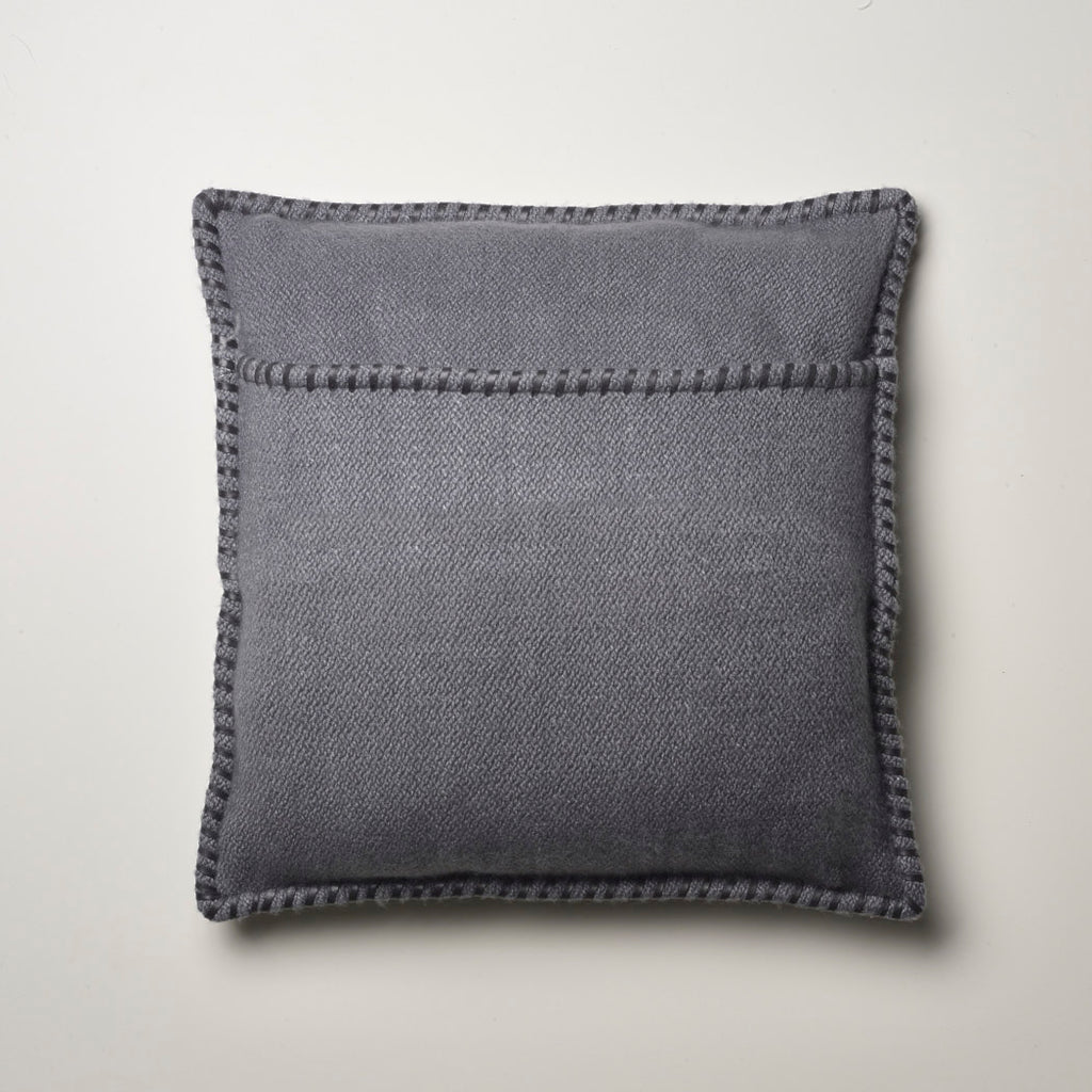 CASHMERE PILLOW WITH LEATHER DETAIL STONE