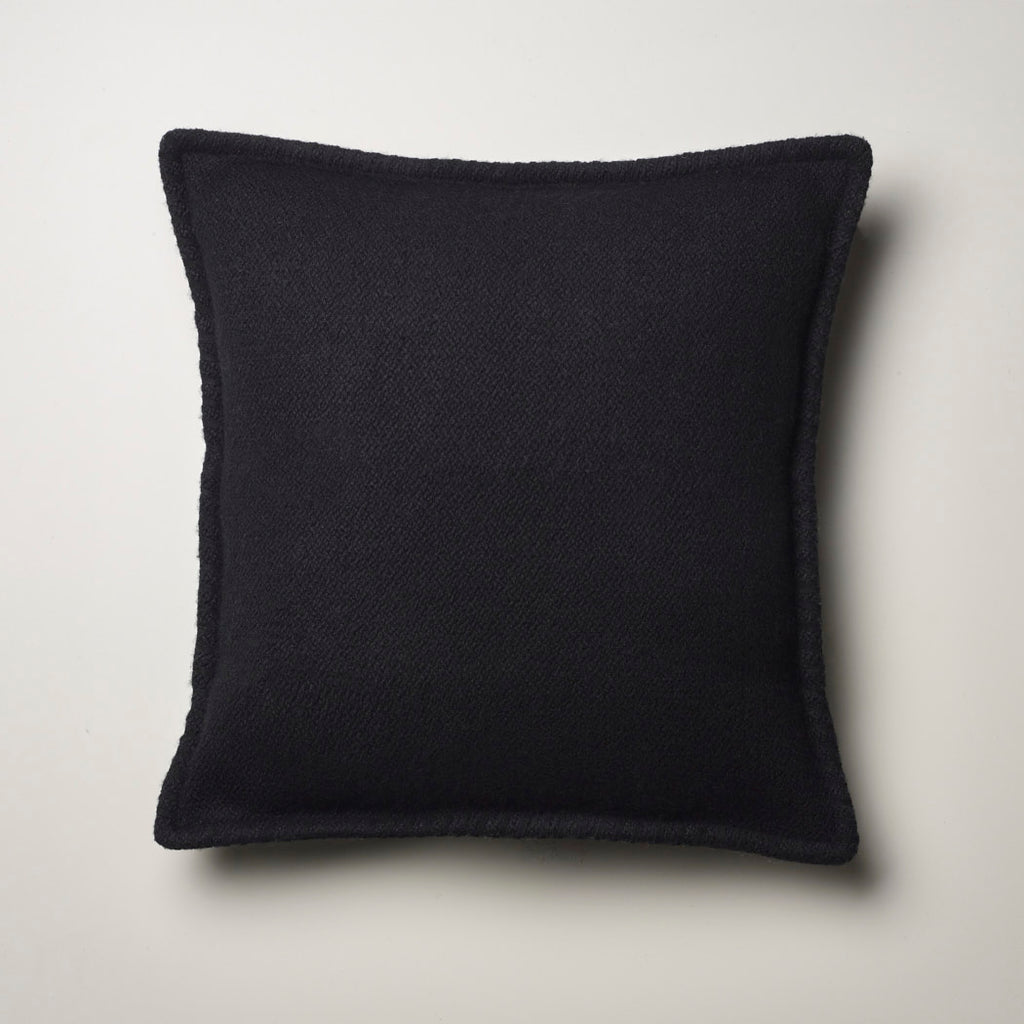 CASHMERE PILLOW WITH SUEDE DETAIL · BLACK