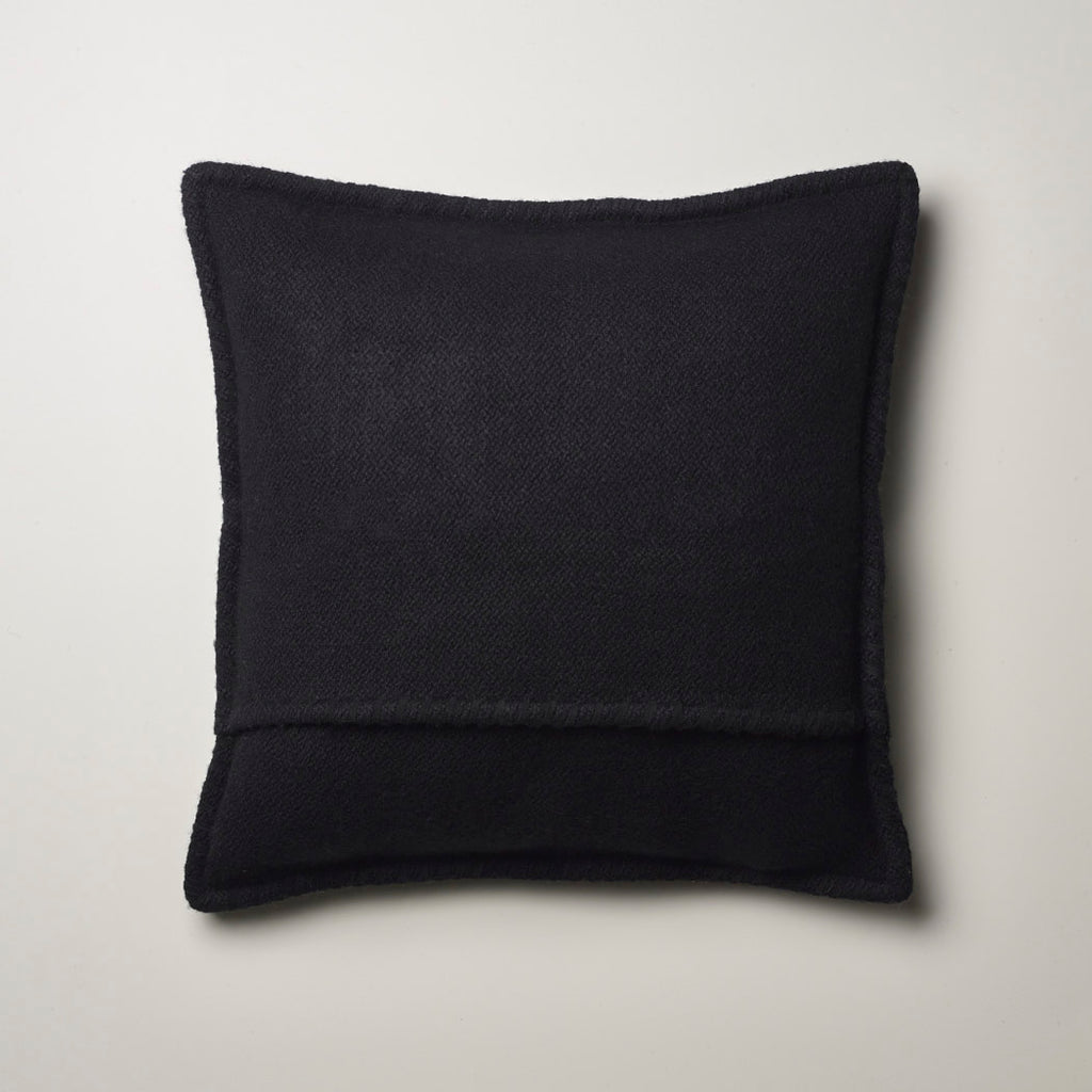CASHMERE PILLOW WITH SUEDE DETAIL BLACK
