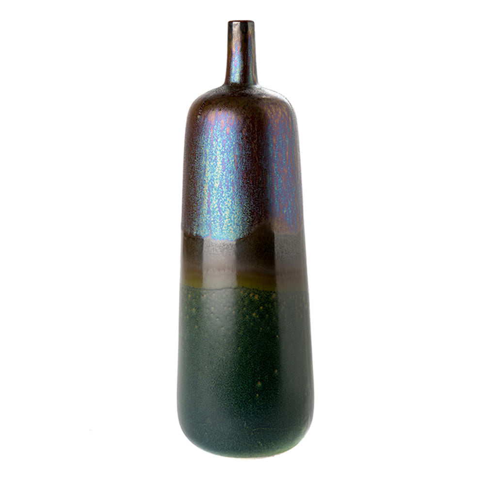 VASE IRIDESCENT METALLIC PITCH BLACK TALL