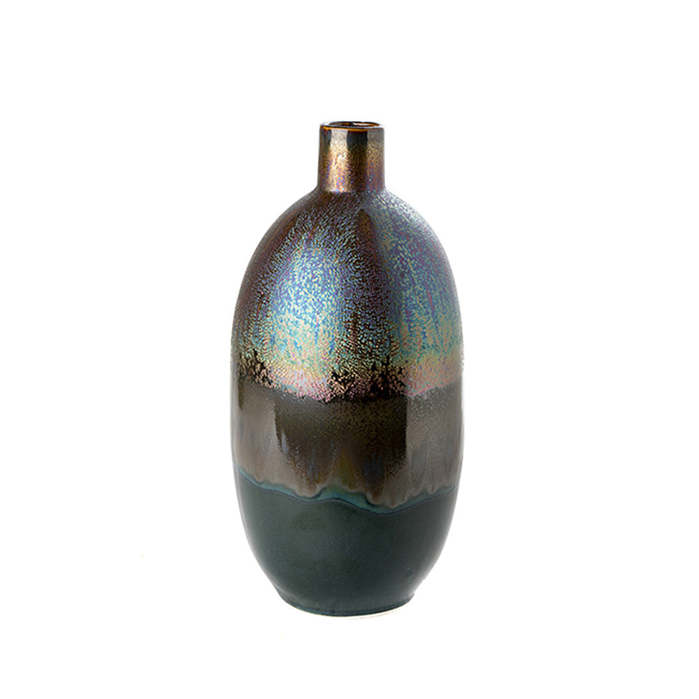 VASE IRIDESCENT METALLIC PITCH BLACK MEDIUM