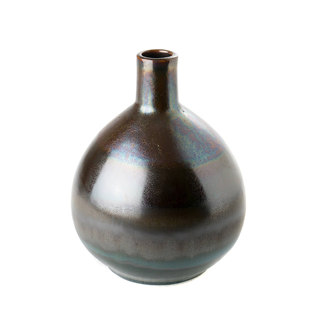 VASE IRIDESCENT METALLIC PITCH BLACK SMALL
