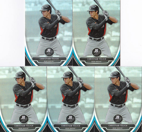 2013 Bowman Platinum Christian Yelich Rookie Card #BPP12 - Lot of (5) - XFMSports