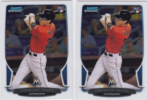 2013 Bowman Chrome Christian Yelich Rookie Card #40 - Lot of (2) - XFMSports