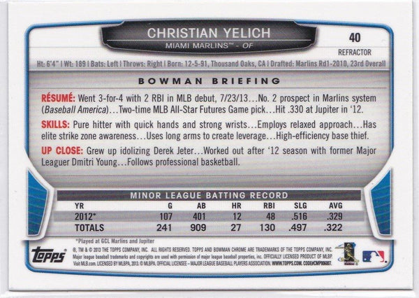 2013 Bowman Chrome Christian Yelich Rookie Card Refractor #40 - XFMSports