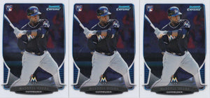 2013 Bowman Chrome Marcell Ozuna Rookie Card #108 - Lot of (3) - XFMSports
