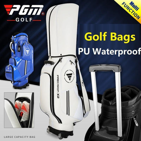 Pgm Golf Standard Ball Bag Professional Leather PU Waterproof Golf Cart Club Airbag High Capacity Package With Wheel 3 Colors