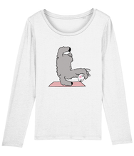 Load image into Gallery viewer, Handstand Llama Long Sleeve Women's T-Shirt (Organic Cotton)