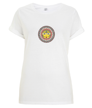 Load image into Gallery viewer, Women's Rolled Sleeve T-Shirt Madhubani Sun