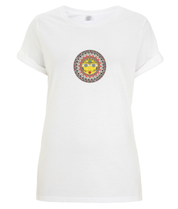 Women's Rolled Sleeve T-Shirt Madhubani Sun