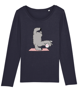 Handstand Llama Long Sleeve Women's T-Shirt (Organic Cotton)