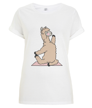 Load image into Gallery viewer, Backbend Llama Women's Rolled Sleeve T-Shirt