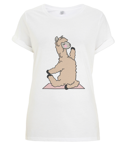 Backbend Llama Women's Rolled Sleeve T-Shirt