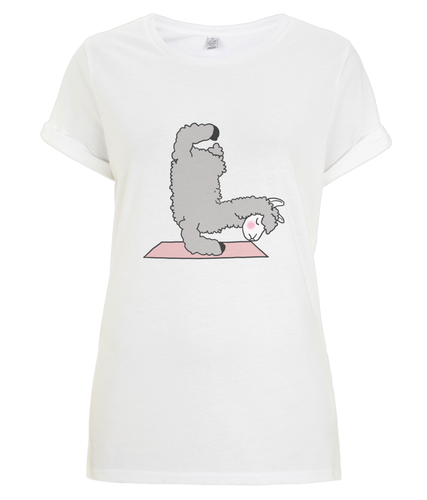 Handstand Llama Women's Rolled Sleeve T-Shirt (Organic Cotton)