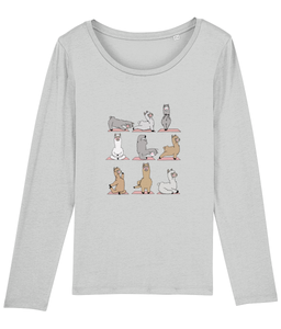 Llama Yoga Long Sleeve T-Shirt Women (100% Organic Cotton)
