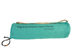 Jute Yoga Bag Sun Salutations - Ashtanga Quote  (Turquoise)