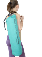 Load image into Gallery viewer, Jute Yoga Bag Sun Salutations - Ashtanga Quote  (Turquoise)