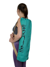 Load image into Gallery viewer, Jute Yoga Bag Sun Salutations - Ashtanga  (Turquoise)