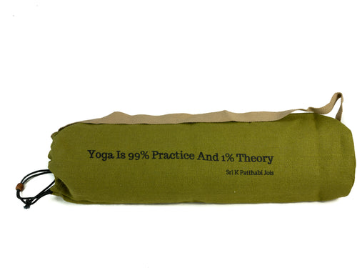 Jute Yoga Bag Sun Salutations - Ashtanga  Quote (Khaki/Green)