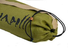 Load image into Gallery viewer, Jute Yoga Bag Sun Salutations - Ashtanga  (Khaki/Green)