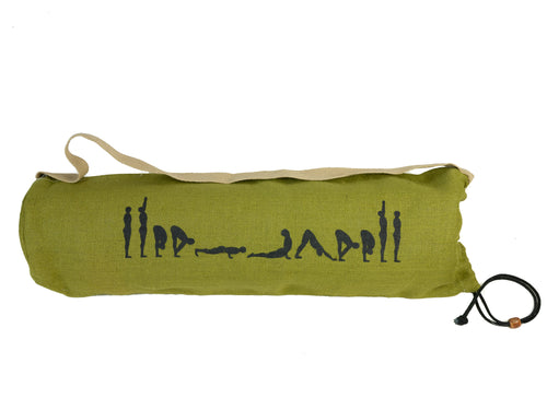 Jute Yoga Bag Sun Salutations - Ashtanga  (Khaki/Green)