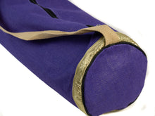 Load image into Gallery viewer, Jute Yoga Mat Bag (Purple with Gold)