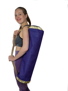 Jute Yoga Mat Bag (Purple with Gold)